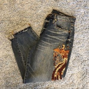 Blank NYC High Waisted Embroidered Ankle Jeans